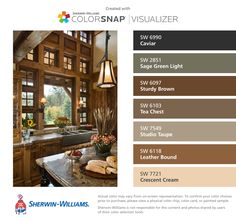 I found these colors with ColorSnap® Visualizer for iPhone by Sherwin-Williams: Caviar (SW 6990), Sage Green Light (SW 2851), Sturdy Brown (SW 6097), Tea Chest (SW 6103), Studio Taupe (SW 7549), Leather Bound (SW 6118), Crescent Cream (SW 7721).