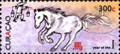 Stamp: Horse and Man carrying buckets (Curaçao) (New Year 2014 (Year of the Horse)) Mi:CW 228,Sn:CW 164d