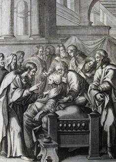 223. Jesus heals Simon's mother-in-law.  Mark cap 1 vv 30-31. Mignard