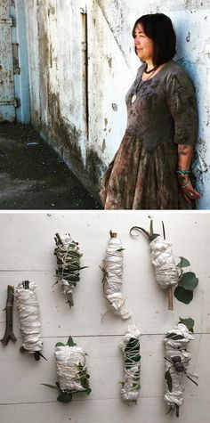"""Interview with India Flint, aka India is an Australian-based natural dyer, fiber artist, visual artist, best known for creating the """"ecoprint"""" dye technique India Flint, India India, Tatoo Katrina, Shibori, Mother Nature Tattoos, Summer Nature Photography, Natural Clothing, Eco Clothing, Art Journal Techniques"""
