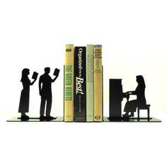 Arte del metallo pianista Bookends - USA spedizione gratuita