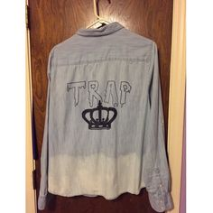 """""""Trap Queen"""" Ombré Denim Button Down ✨denim button down✨lightweight soft material✨functional breast pockets✨""""trap""""+ queen's crown design on back✨ombré accent on back✨cute and relevant for fall layers✨super cute tied around waist✨ (not actually Brandy M. but definitely same style!) Brandy Melville Tops Button Down Shirts"""