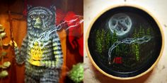 Layered Resin Dioramas of Forest-Dwelling Characters Embedded with Flora and Fauna by Drew Mosley