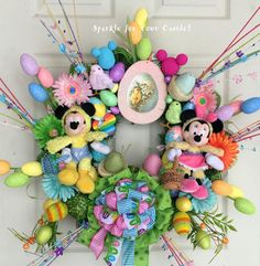 Easter Wreath Disney Mickey and Minnie by SparkleForYourCastle