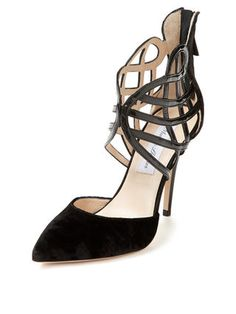 Pointed-Toe Cage Pump from Black Shoes Feat. Gucci on Gilt Pointed Toe Pumps, High Heel Pumps, Shoes Heels, Monique Lhuillier, Cage, Brian Atwood, Celebrity Dresses, Metallic Leather, How To Feel Beautiful