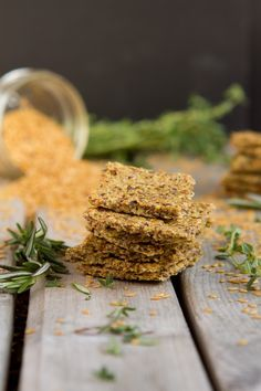Egg-free! Roasted Herb Crackers - roughly ground flax seeds, celery sticks, avocado oil (sub olive), raw apple cider vinegar, fresh thyme leaves, fresh rosemary leaves, Himalayan rock salt