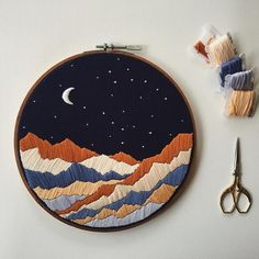 Night time mountains @firesidethreads   Embroidery