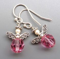 Angel Earrings...Pink Swarovski Crystal and Sterling Silver $14.00