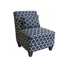 HomePop Charlotte Accent Chair & Throw Pillow 2-piece Set, Blue (Navy)