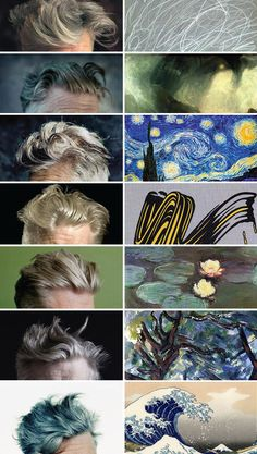 san francisco-based creative jimmy chen has married the iconic variations of david lynch's hairstyles with the equivalent in famous artworks.