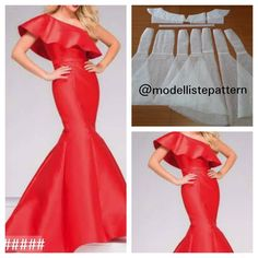 One shoulder gown pattern Order by line : (with Evening Dress Patterns, Wedding Dress Patterns, Evening Dresses, Mermaid Dress Pattern, Gown Pattern, Mermaid Gown, Dress Design Patterns, Clothing Patterns, Gaun Dress