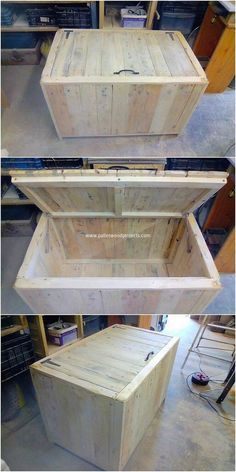 It seems like the pallet storage box design of work is becoming one of the latest trend of the furniture these days. This image will give you out the mind-blowing idea of the storage box where the stroke of the elegant simple finishin Pallet Frames, Pallet Boxes, Pallet Storage, Wood Storage Box, Diy Storage, Truck Storage, Diy Pallet Projects, Wood Projects, Woodworking Projects