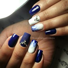 Evening nails, Two-color nails, White and blue nails