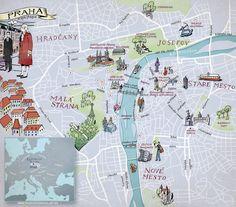 Mapa de Praga Map of Prague from mundodosmapas.br - the site of Nik Neves and Marina Camargo Prague Map, Visit Prague, Prague Food, Prague Castle, Prague Travel Guide, Europe Travel Guide, Prague Nightlife, Prague Restaurants, Travel Themes