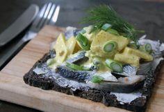 Karrysild (Herring in Curry Sauce) and Akvavit   Danish Open Sandwiches (Smørrebrød)