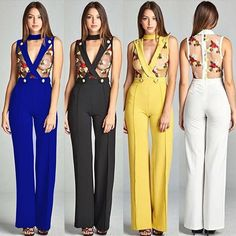 24b9f4561a4 VAZN 2017 Sexy Jumpsuit Summer See Throug Bodycon Jumpsuits Lady Solid Black  White Yellow Blue Night Club Rompers