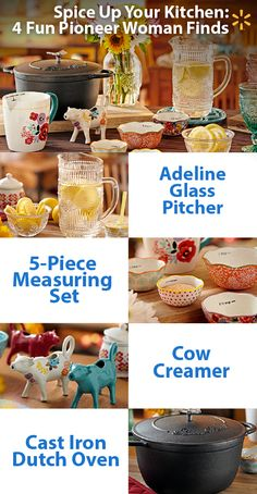 We love Ree Drummond's new Pioneer Woman collection! Bring some color to your table and impress your dinner guests. The hand-painted and dishwasher-safe 5-pc measuring set is fun. The vintage-style speckled 12-quart stockpot is great for cooking up yummy stews. Refresh in style with the gorgeous details in the Adeline glass pitcher. The cow creamer is a bright spot on groggy mornings. Check the full line of Walmart-exclusive affordable cookware & tableware in your store or online.