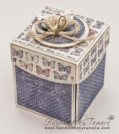 Handmade by Tamara Card In A Box, Pop Up Box Cards, Creative Box, Creative Gift Wrapping, Boite Explosive, Pop Up Karten, Exploding Box Card, Magic Box, Pretty Box