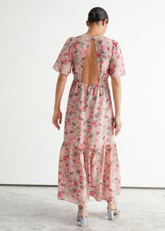 Printed Puff Sleeve Maxi Dress - Pink Florals - Maxi dresses - & Other Stories GB