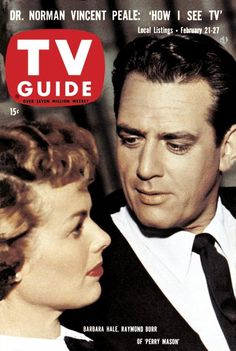 "TV Guide, February 21, 1959 - Barbara Hale and Raymond Burr of ""Perry Mason"""
