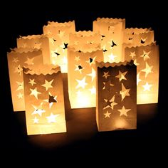 Paper Candle Bags Luminary Birthday Decorations Party Venue Tea Lights Holder