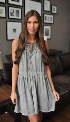 Grey Mineral Wash Tank Dress - Dottie Couture Boutique