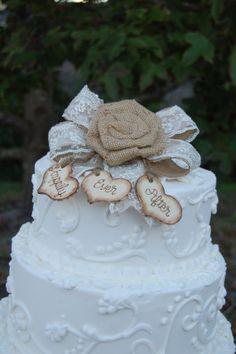 Rustic Cake Topper / Burlap Cake Topper / by MyRusticWeddings, $45.00