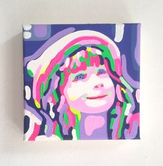 my little portrait* Acryl auf Leinwand 20x20x4cm Individuelle Seitengestaltung Porträtmalerei vom Foto reduzierter Camouflage-Stil