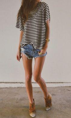 Stripes, denim shorts, ankle boots