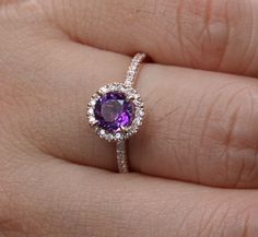 14k Rose Gold Amethyst Round and Diamonds Engagement Ring- Etsy $545