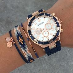 Bracelets & watch in dark blue with rosegold | Mint | www.mint15.nl