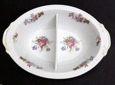 "Harmony House DRESDANIA Divided Oval Vegetable Bowl 10 1/2"" HTF Rare Piece #HarmonyHouse"