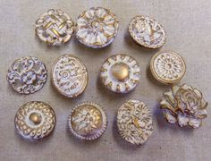 Drawer Pulls Knobs Collection Vintage and Handmade 11 Rose Flower Cameo Shabby Distressed in Off White and Gold