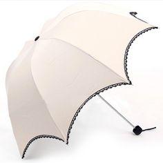 Ivory Arched Umbrella With Black Lace Trim, Anti-UV Sun Parasol $19.59 #umbrella