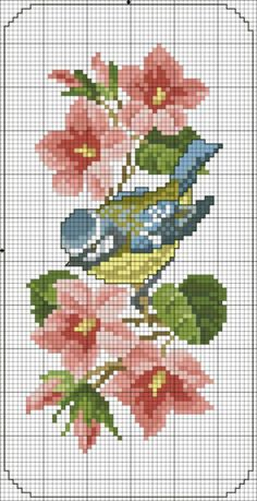 Bluetit in the flowers X-stitch Easy Cross Stitch Patterns, Cross Stitch Bird, Simple Cross Stitch, Cross Stitch Animals, Cross Stitch Flowers, Cross Stitch Charts, Cross Stitch Designs, Cross Stitching, Cross Stitch Embroidery
