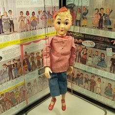 HAZELLES MARIONETTES NO. 804-TOMBOY, 1950's. I have other examples of this character in Puppet Paradise, but this is the first one with red shoes and red bows on her hair and neck. Looks like I need to work on her strings. You can tell they have been shortened due to breakage over the years.