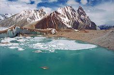 Green Glacial Lake On Upper Baltoro Glacier With Mitre Peak Behind