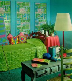 Dream Scheme II 1968 Photo by Bill Margerin house design Retro Room, Vintage Room, Bedroom Vintage, Vintage Decor, 60s Bedroom, Blue Bedroom, Vintage Green, Bedrooms, 1970s Decor