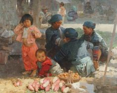 This is an oil on canvas painted by Mian Situ at Yang Wu Market, Yun Nan Province in China. Situ completed both his Bachelors and Masters in Fine Art at the prestigious Guangzhou Institute of Fine Art, where he studied classical Western Realism techniques.