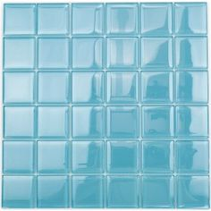 "Shop For Loft Turquoise Polished 2"" X 2"" Glass Tiles at TileBar.com"