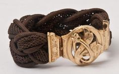 Mourning jewellery. Bracelet made of tressed hair with a gold catch.