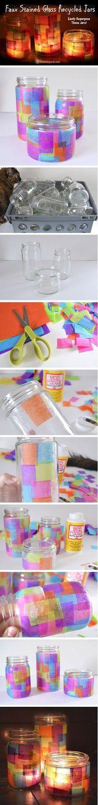 OS MELHORES ARTESANATOS: Reciclagem -Artesanato com pote de vidro