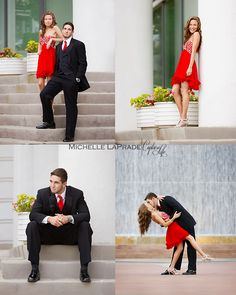 Photo by Michelle LaPrade Photography, 2014 Prom, City, Fashion Shoot, Red Dress, Couple pose ideas, lapradephotography@roadrunner.com