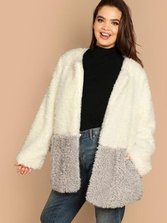 ce02ea5bb67 Plus Size Jacket Fur Detail And Two Tone Open Placket Teddy Coat XL-3XL
