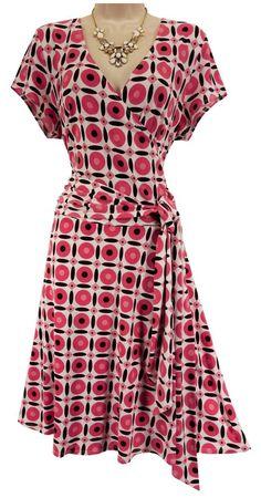 XL X-LARGE SEXY Womens CORAL/PINK PRINT FAUX-WRAP DRESS W/TIE Spring Summer #ABStudio #FauxWrap #Versatile