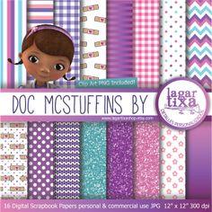 Doc McStuffins Digital Paper Background Teal by LagartixaShop, $4.00
