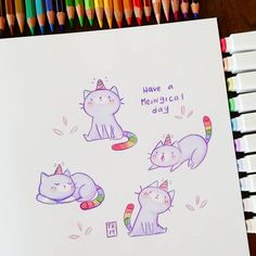 Tag a friend who needs to see this 🐱🌈 sooo cute ♥️ it's great to see such amazing illustrations done with pencils! Kawaii Doodles, Cute Doodles, Kawaii Art, Kawaii Illustration, Children's Book Illustration, Illustrations, Funny Drawings, Kawaii Drawings, Kitty Drawing