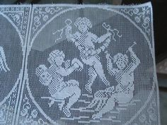 Vintage Figural Filet Net Lace Doily Squares for Crafts Projects   eBay