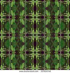 Digital art technique modern nature collage decorative geometric seamless pattern mosaic design in cold tones.