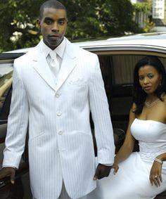 FUBU tuxedo in white.  www.JAlanFormalwear.com